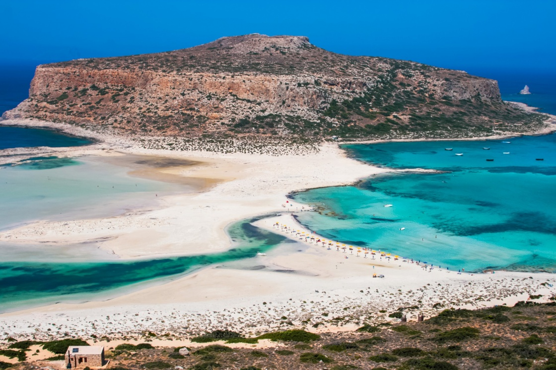 'Fantastic panorama of Balos Lagoon and Gramvousa island on Crete, Greece. Cap tigani in the center' - La Canée