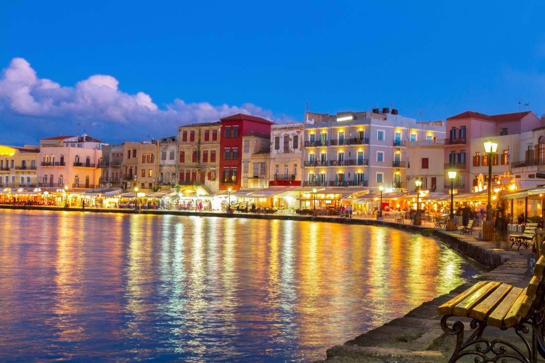 'illuminated venetian habour of Chania  at night, Crete, Greece' - La Canée